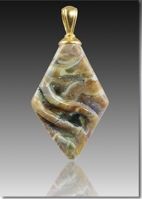 Rhombic Handblown Glass Pendant With Cremains