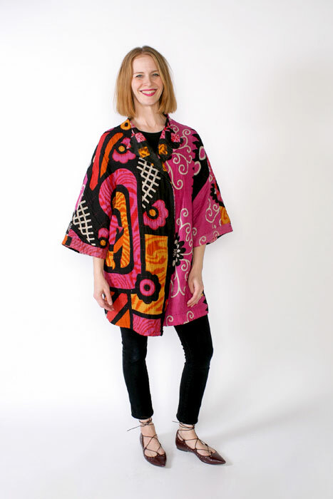 Chateau coat made in pink kantha cloth fabric