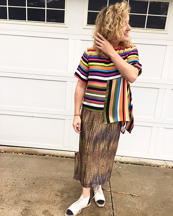 Multi-color Stripe Poly Blend