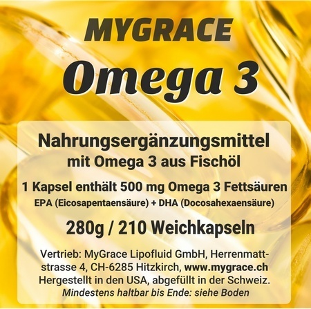 MYGRACE Omega 3 mit 210 Kapseln à 500 mg EPA+DHA