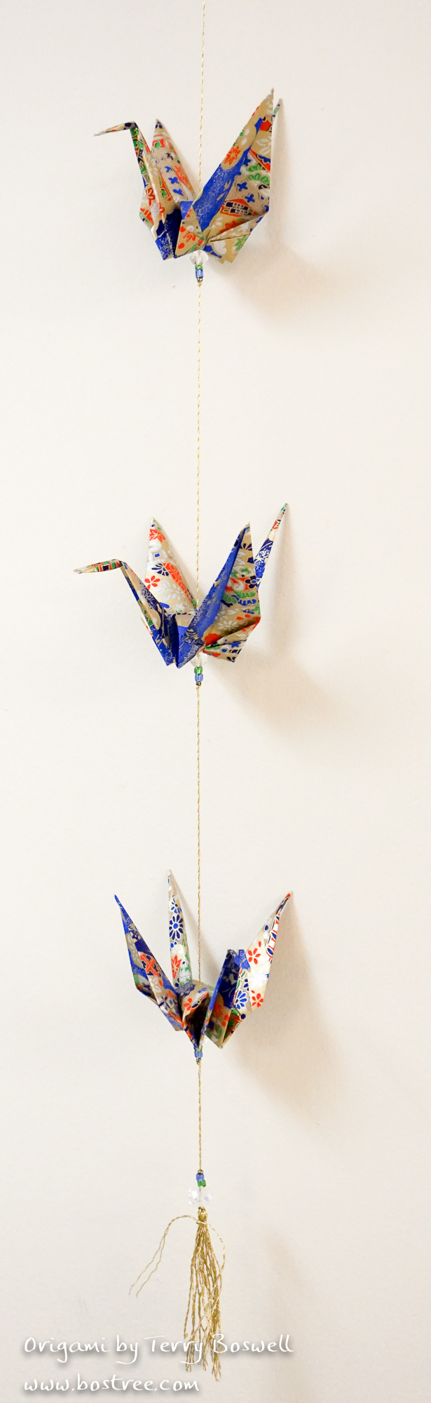 Three Crane Origami Mobile Blue Gold Red Origami Shop Online
