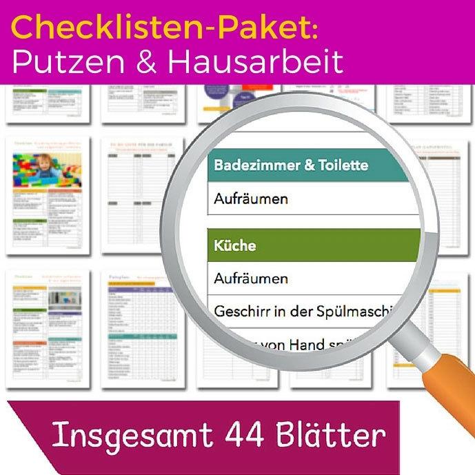 """50 % Rabatt beim Checklisten-Paket """"Putzen und Hausarbeit"""" CP01-A"""