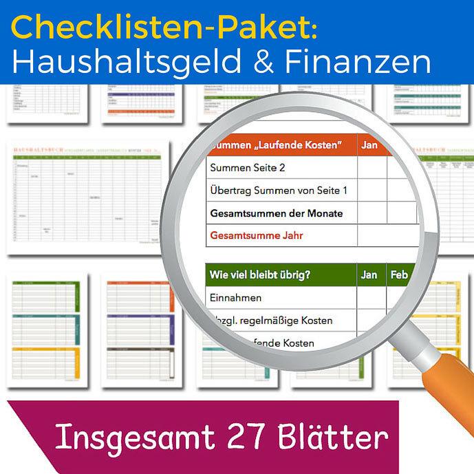 Checklisten-Paket: Haushaltsgeld und Finanzen CP03