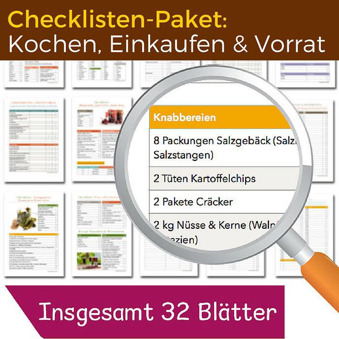 Checklisten-Paket: Kochen, Einkaufen und Vorrat CP04