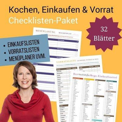 Checklisten-Paket: Kochen, Einkaufen und Vorrat