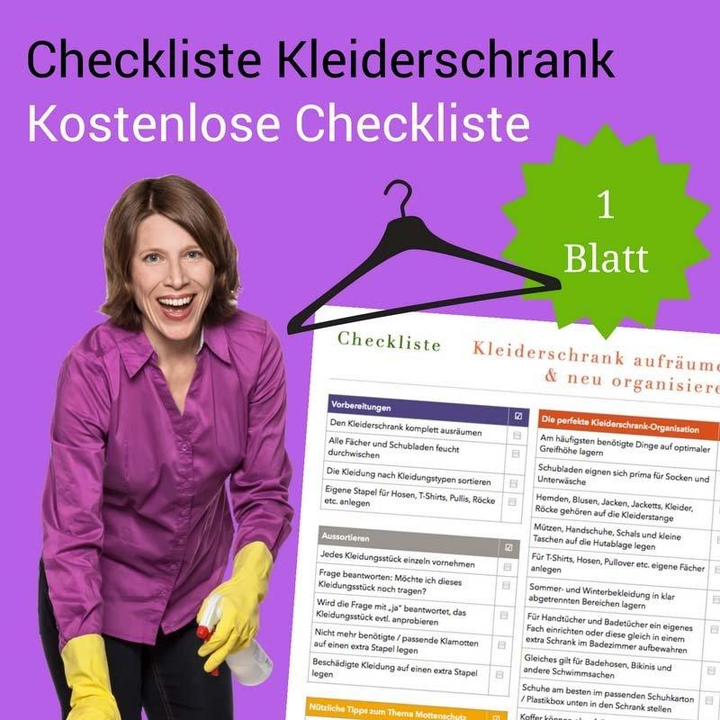 Checkliste Kleiderschrank aufräumen und neu organisieren CL0148