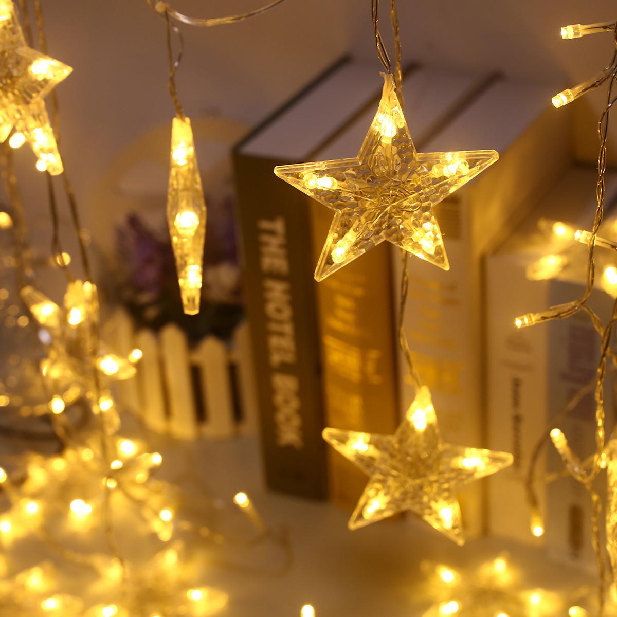 Led Weihnachtsbeleuchtung Laser.3m Led Eisregen Stern Lichterkette Lichtervorhang Weihnachtsbeleuchtung Warmwei Ss
