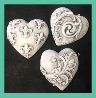 Painted  Hearts set of 3