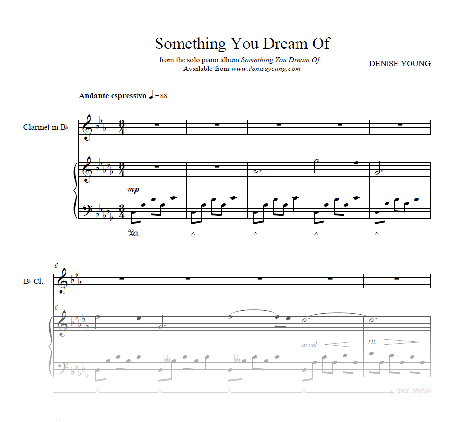 """Something You Dream Of..."" Sheet Music for Piano and Clarinet"