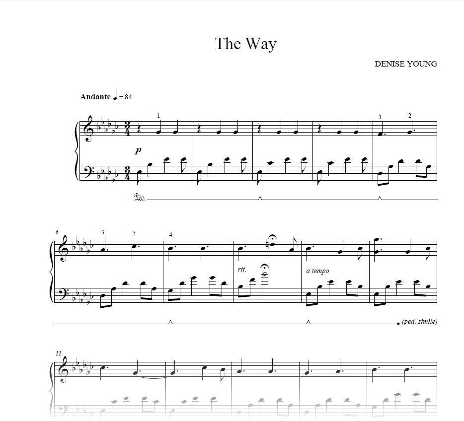 """""""The Way"""" Sheet Music for Piano"""