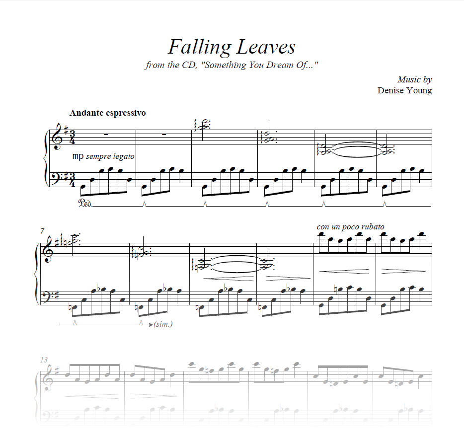 """""""Falling Leaves"""" Sheet Music for Piano"""