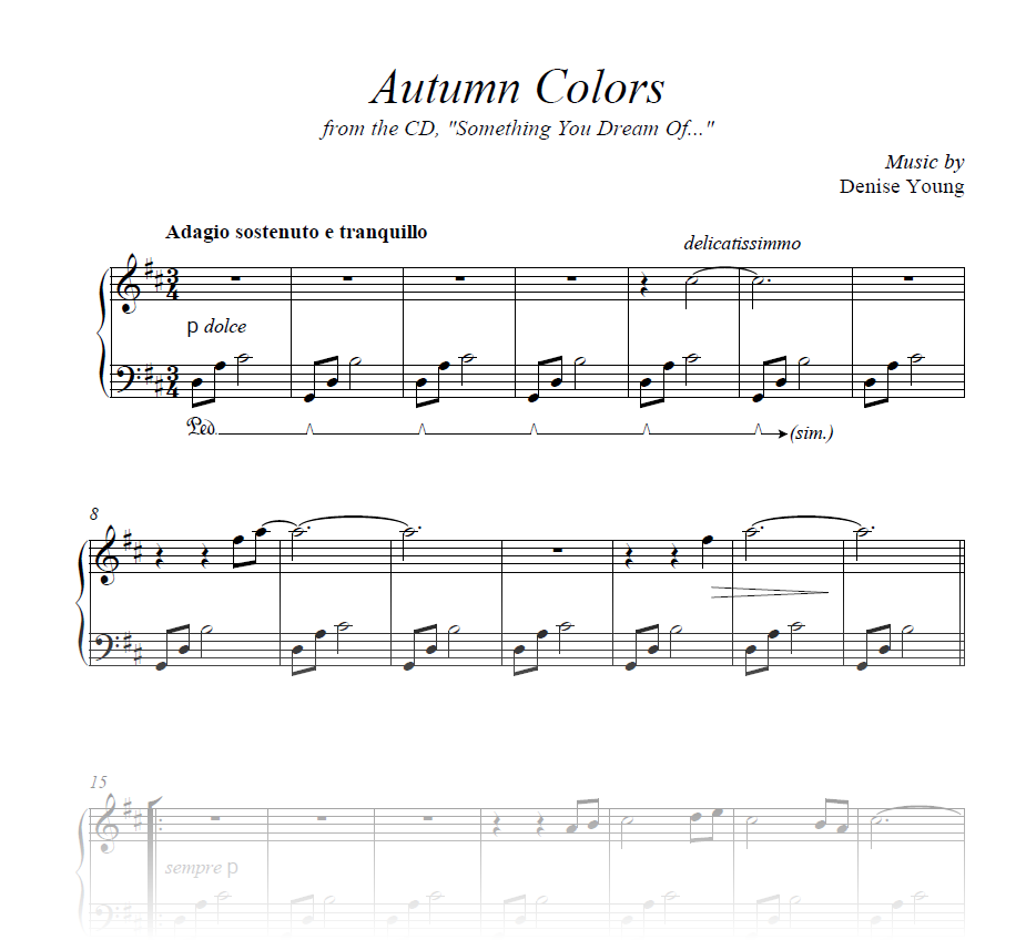 """""""Autumn Colors"""" Sheet Music for Piano"""