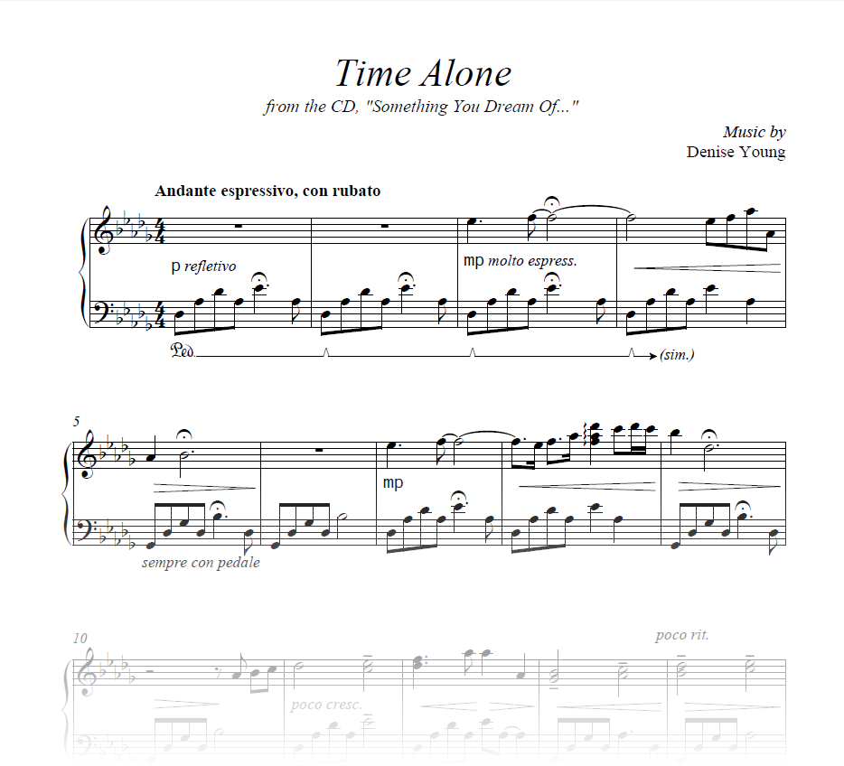 """Time Alone"" Sheet Music for Piano"
