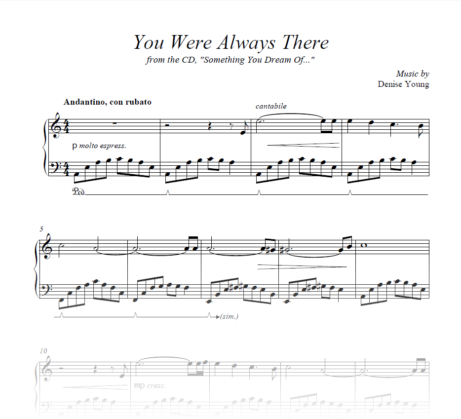 """You Were Always There"" Sheet Music for Piano and Cello"