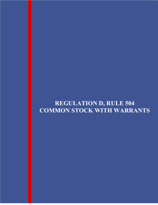 Reg. D, Rule 504 Common Stock With Warrants