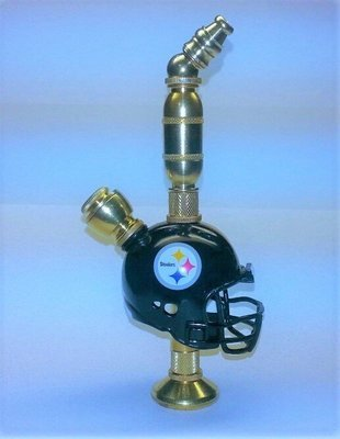 7ad8d22f Pittsburgh Steelers NFL Helmet Pipe Stand Alone Design Brass Finish