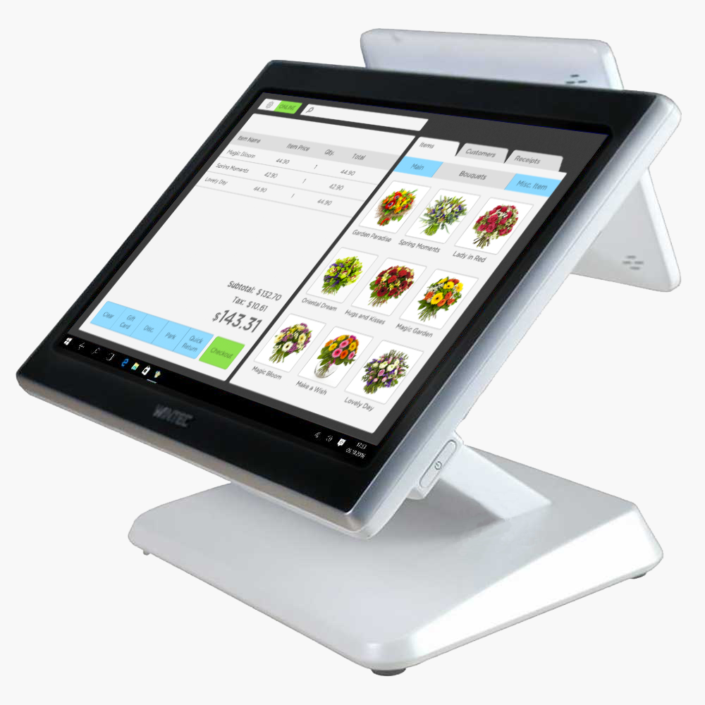 מחשב עם מסך מגע וקורא אשראי