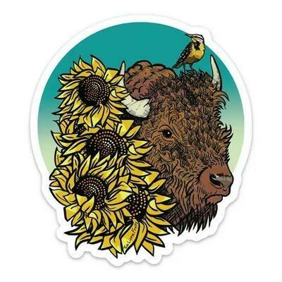 Bison & Sunflower Sticker