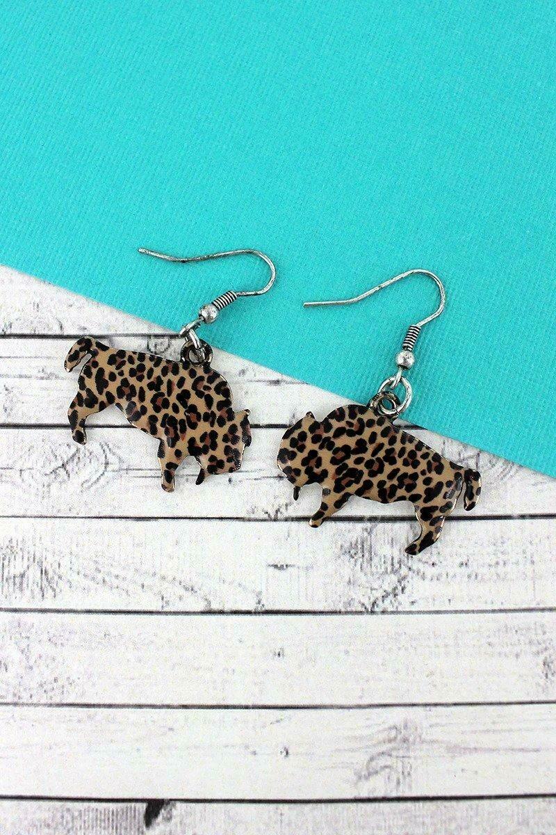 Leopard Bison Earrings