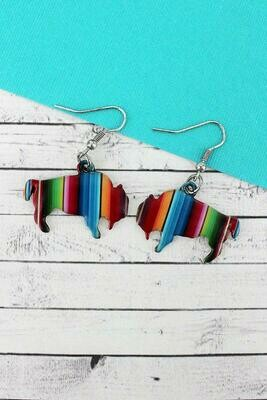 Serape Bison Earrings