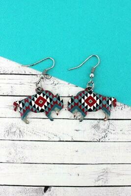 Fire Canyon Bison Earrings