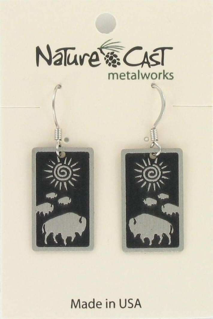 Rectangle Buffalo Earrings