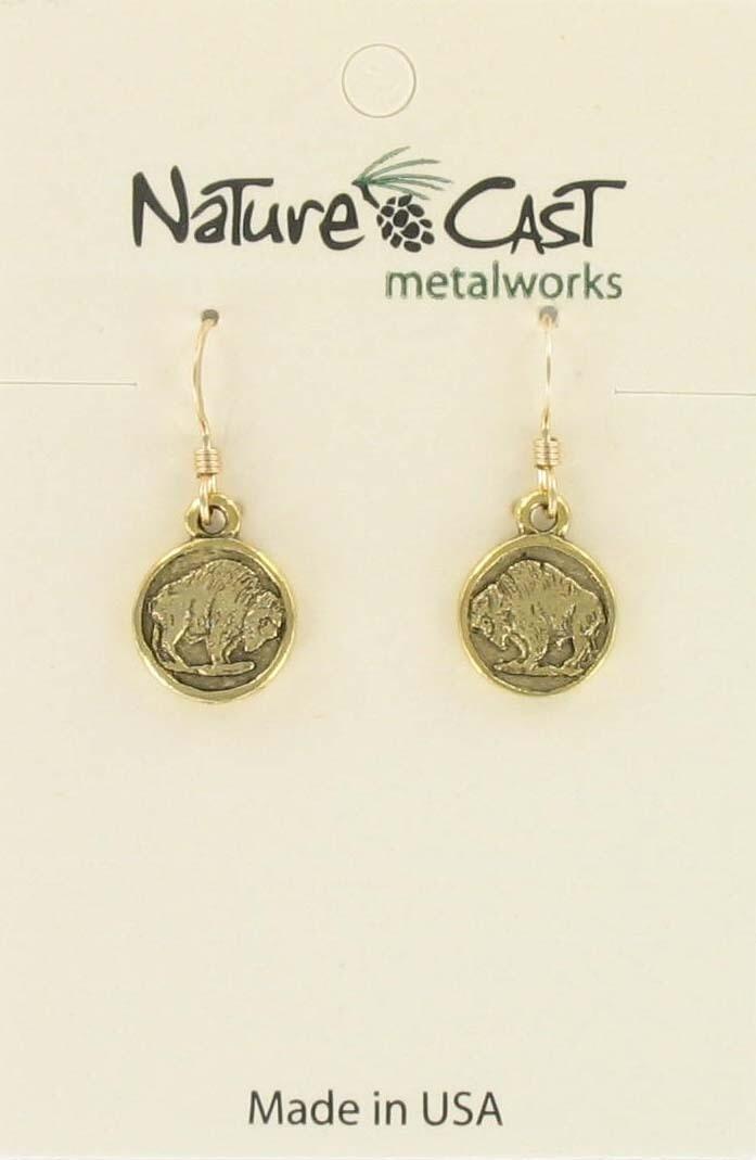 Gold Buffalo Coin Earrings