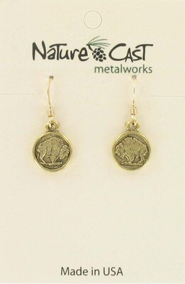 Gold Buffalo Coin Earrings