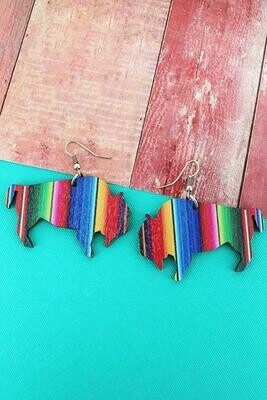 Serape Buffalo Wooden Earrings