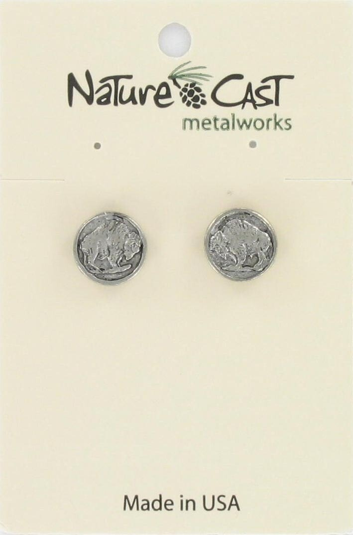 Bison Silver Coin Earrings