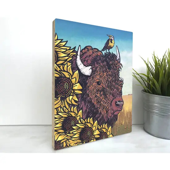Buffalo & Sunflower Wood Art