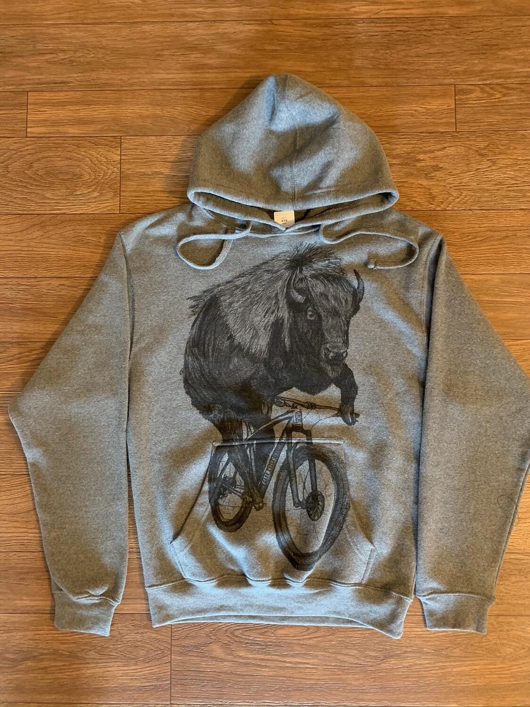 Buffalo on a Bicycle Hooded Tri-Blend Grey Sweatshirt