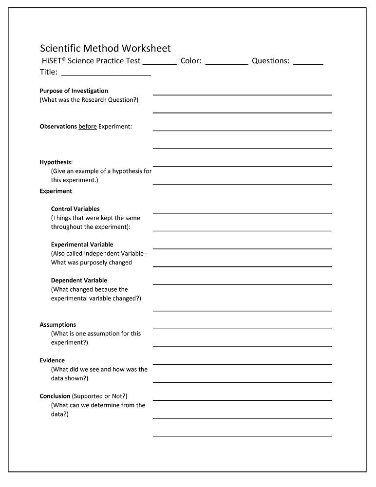 It is an image of Printable Scientific Method Worksheet regarding kindergarten