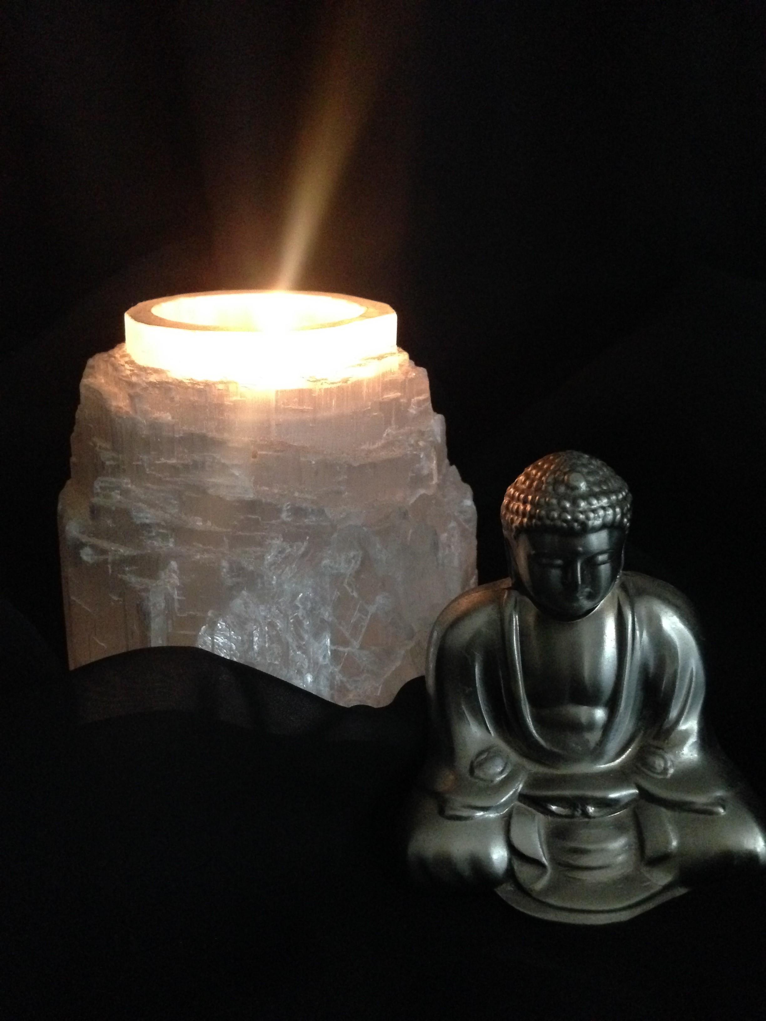 Selenite Tea Light Candle Holder (natural) 00098