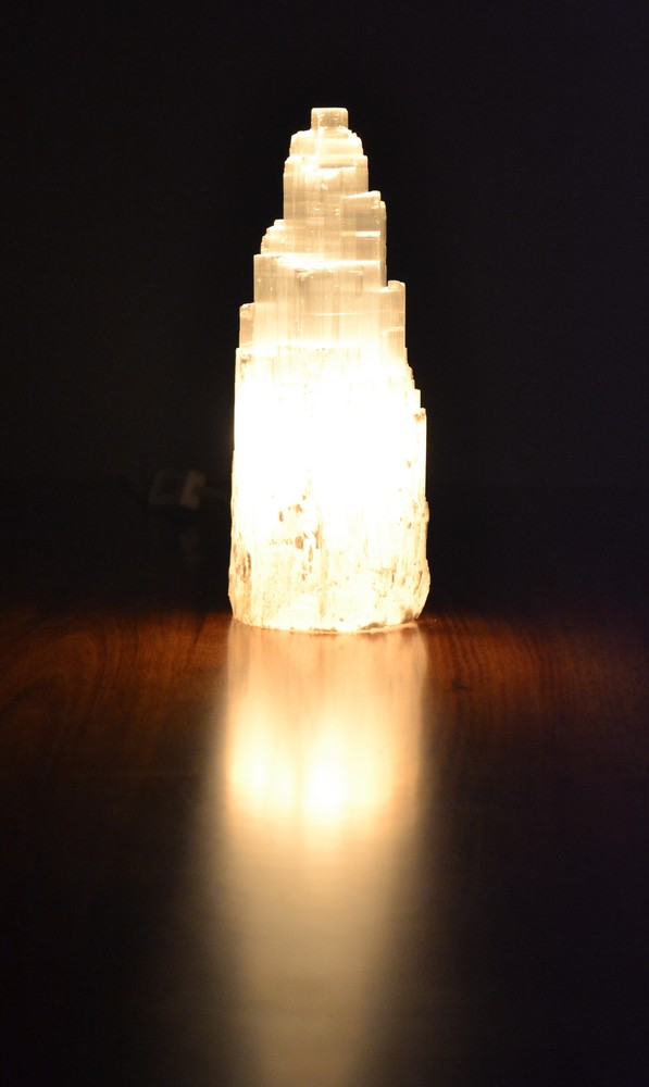 Selenite Lamp 30-35cm high 00100