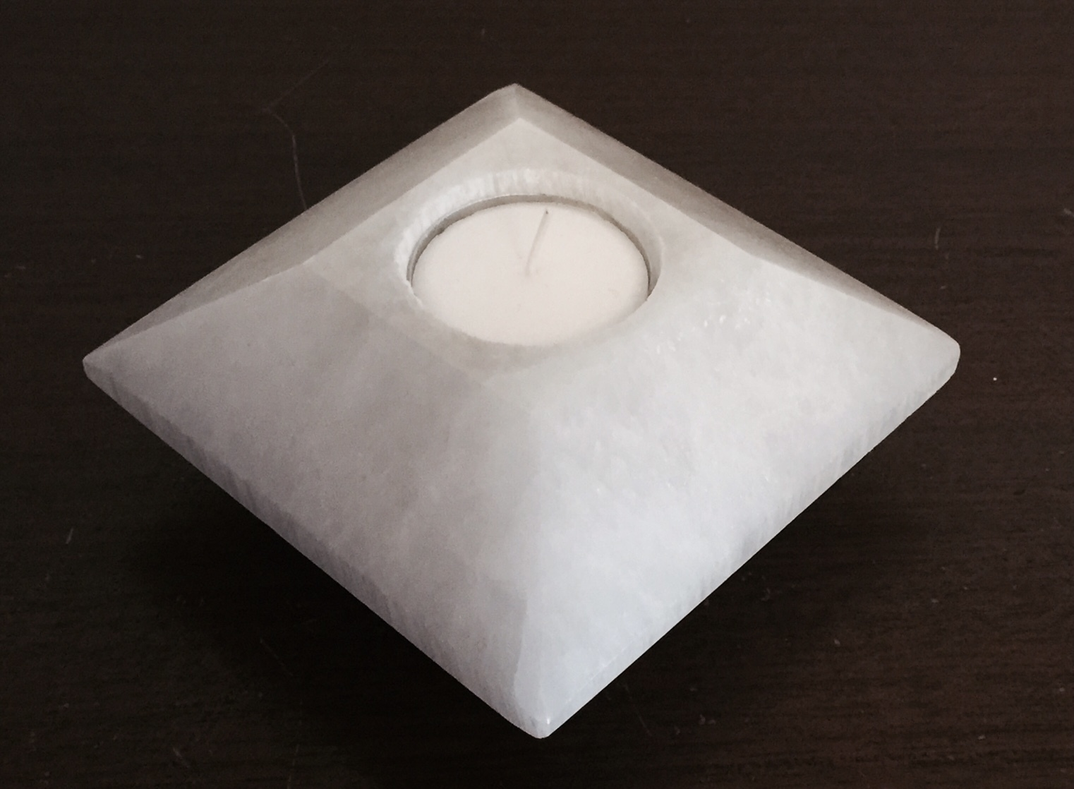 Selenite Tea Light Candle Holder (carved) 00103