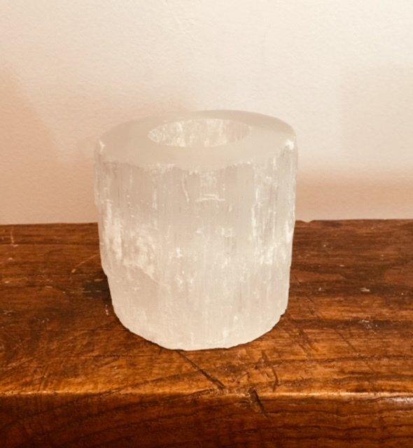 Selenite Tea Light Candle Holder (natural cylinder) 00268