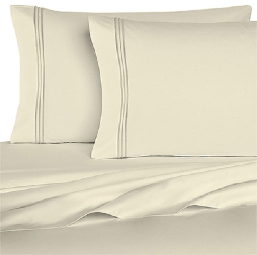 Homecrest 1800 Series 6 Piece Queen Size Bed Sheets Set White 18003
