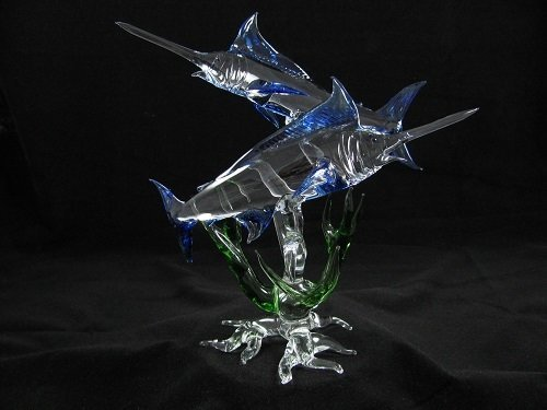 Double Marlin with Coral on Glass Root Base