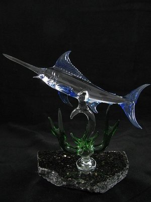 Marlin with Coral on Granite Base