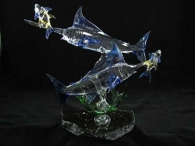 Double Marlin with Coral and Yellow Fin Tuna on Granite Base