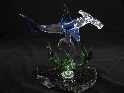 Hammerhead Shark with Coral on Granite Base