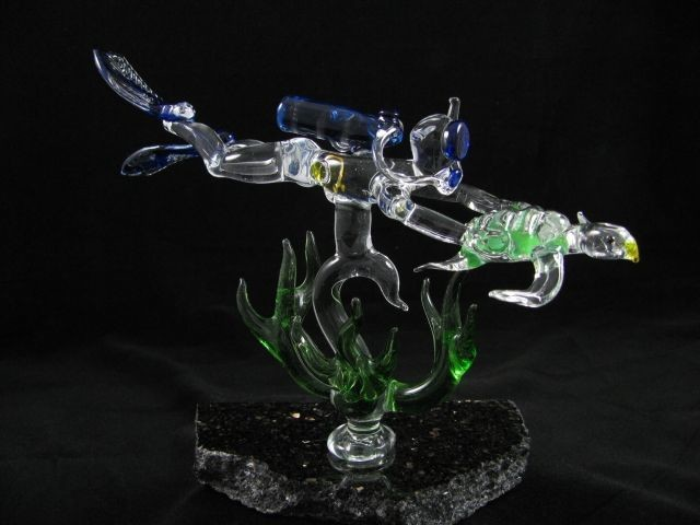 Scuba Diver and Turtle with Seaweed on Granite Base