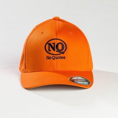 NO Quotes Navy on Orange Flex-Fit Cap (Now Available)