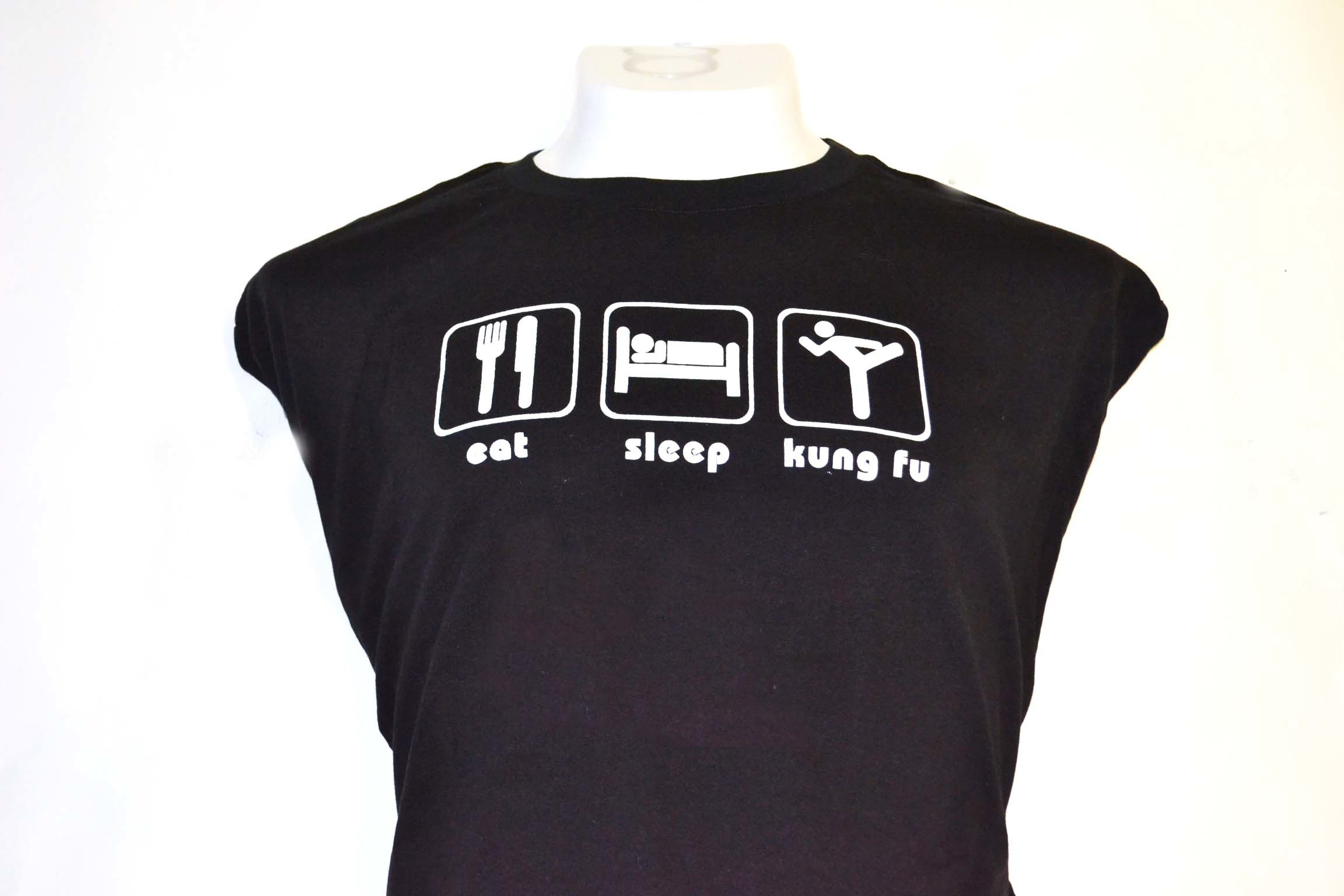 Playera  eat sleep kung fu negra. 00067
