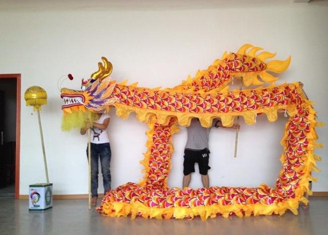 Dragon Chino Amarillo y Dorado hecho a mano original Grande 00097