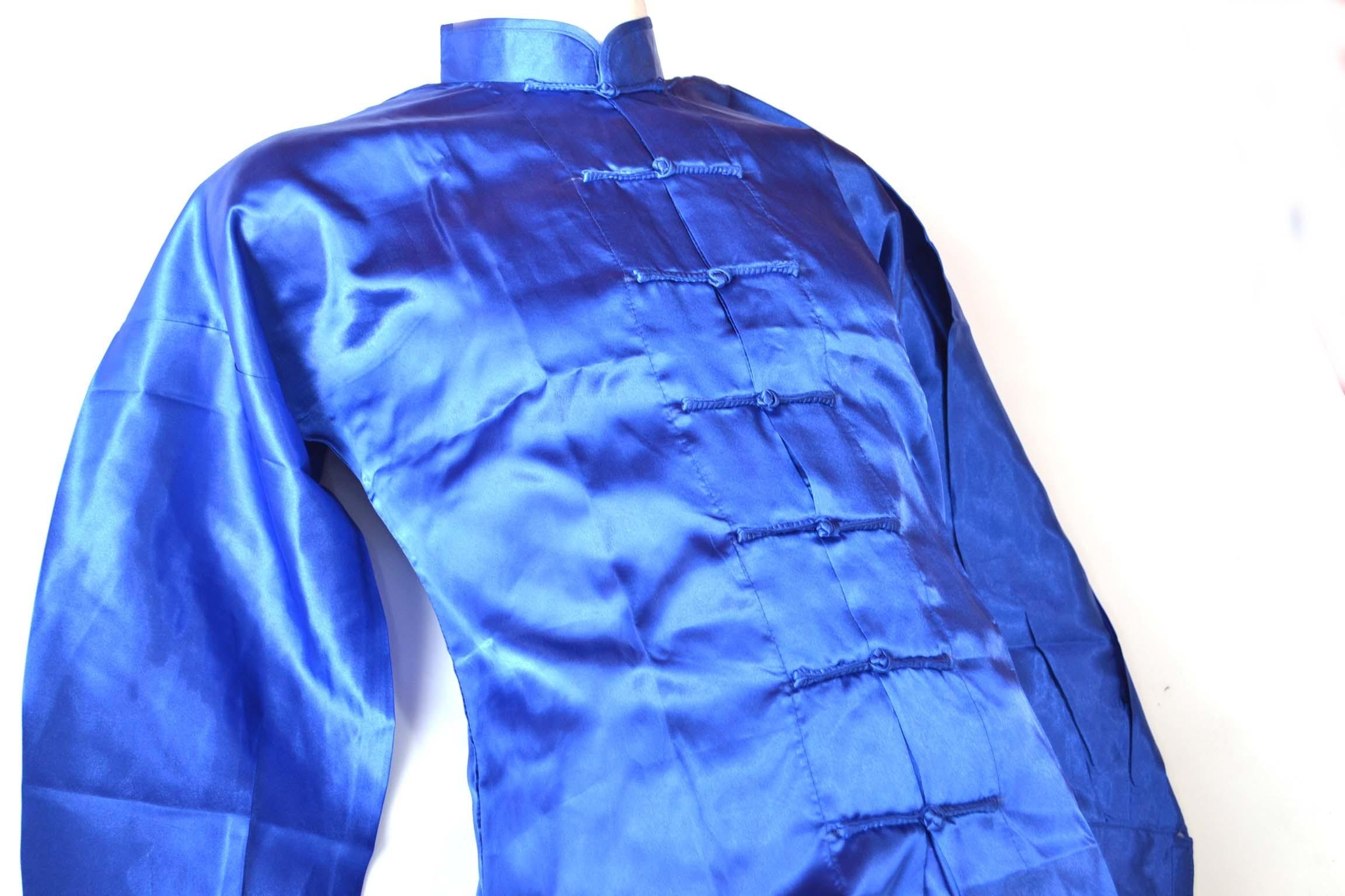 Uniforme Wushu y Tai ji Quan  azul fabricado en poliseda 00076