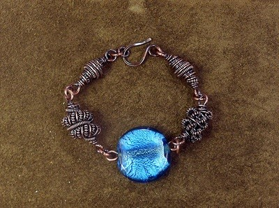 Copper Coil Bracelet  Wire Work Class