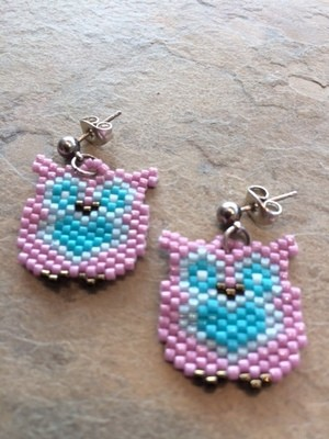 Small Brick Stitch Owl Earrings