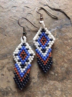 Brick Stitch  Feather Earrings